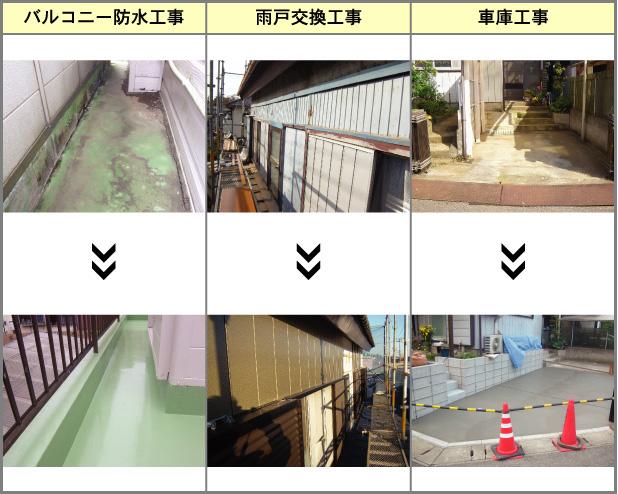 バルコニー防水工事・雨戸交換工事・車庫工事